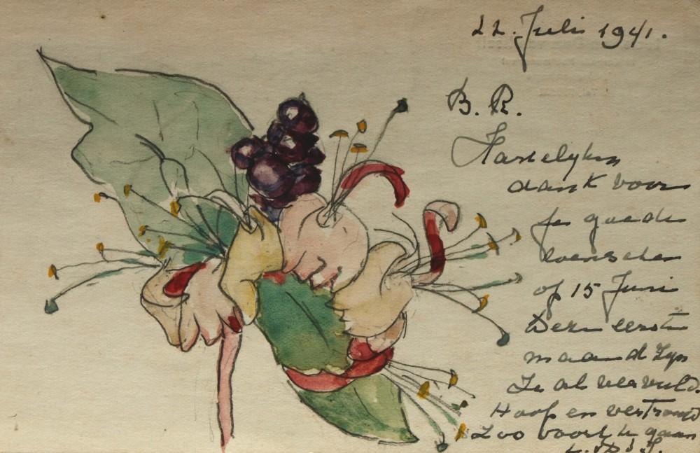 Briefkaart aan M. Bok (1941) door Lucie van Dam van Isselt