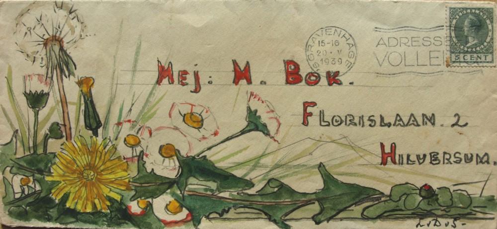 Envelop Mej. M. Bok (1939) door Lucie van Dam van Isselt