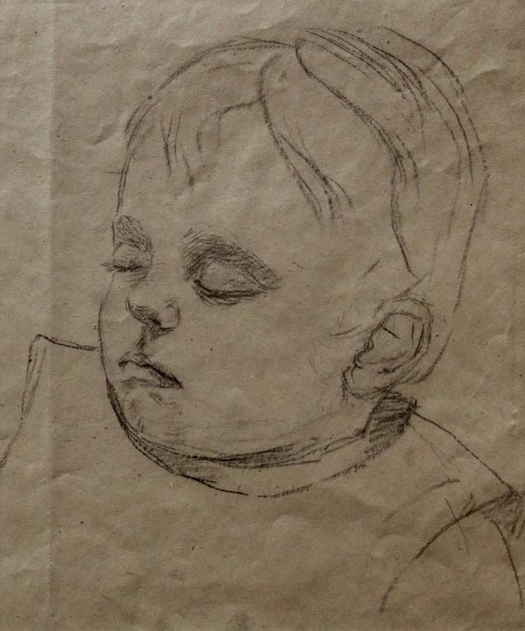 Studie slapend kind I (1915-1920) door Lucie van Dam van Isselt