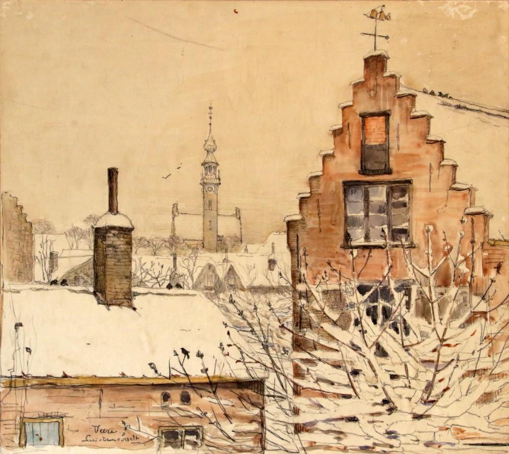 Veere in de sneeuw I (ca. 1925) door Lucie van Dam van Isselt