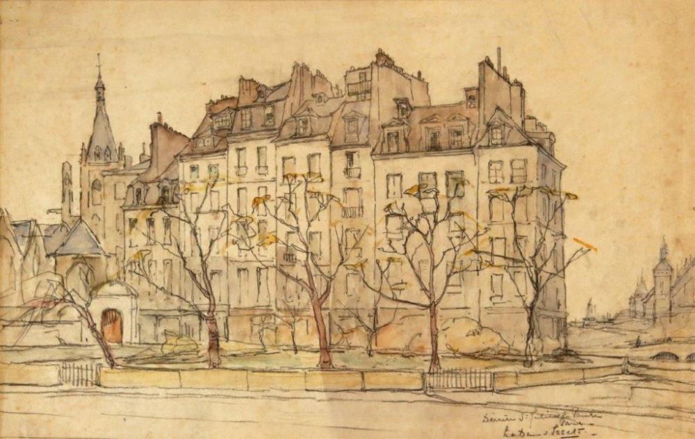 Derrière St. Julien le Pauvre, Paris (ca. 1935) door Lucie van Dam van Isselt
