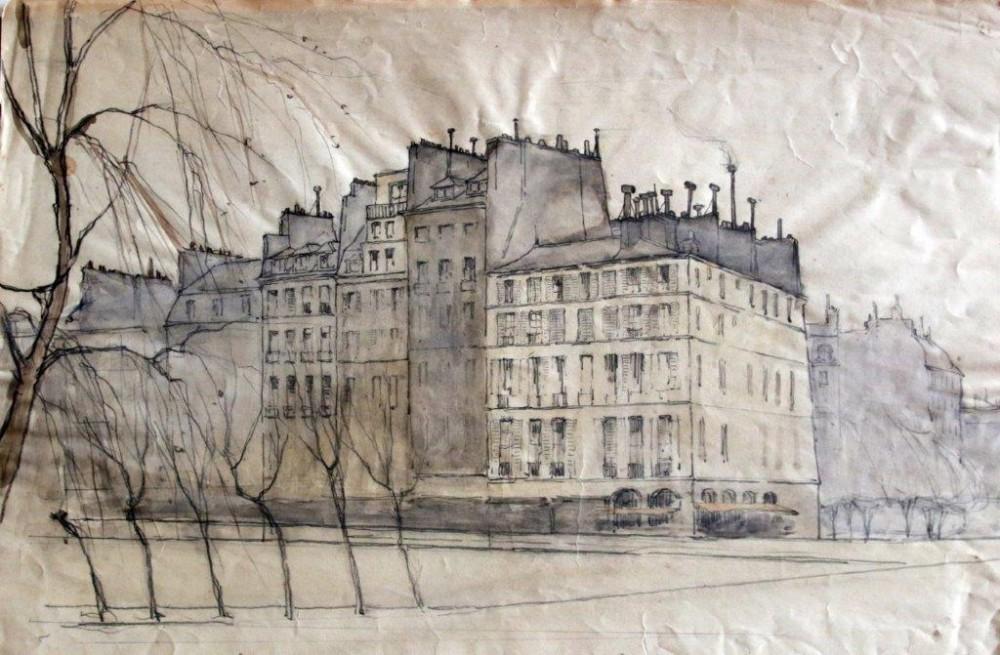 Stadsgezicht bij Parijs door Lucie van Dam van Isselt