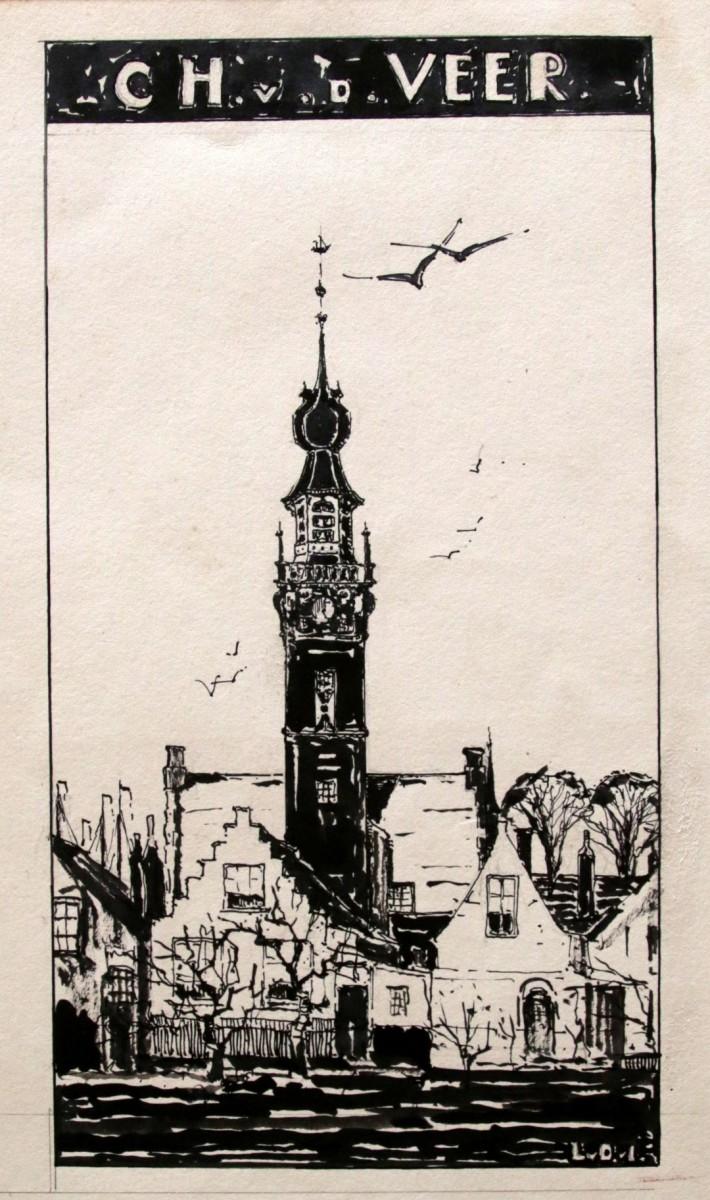 Ex libris Charlotte van der Veer door Lucie van Dam van Isselt