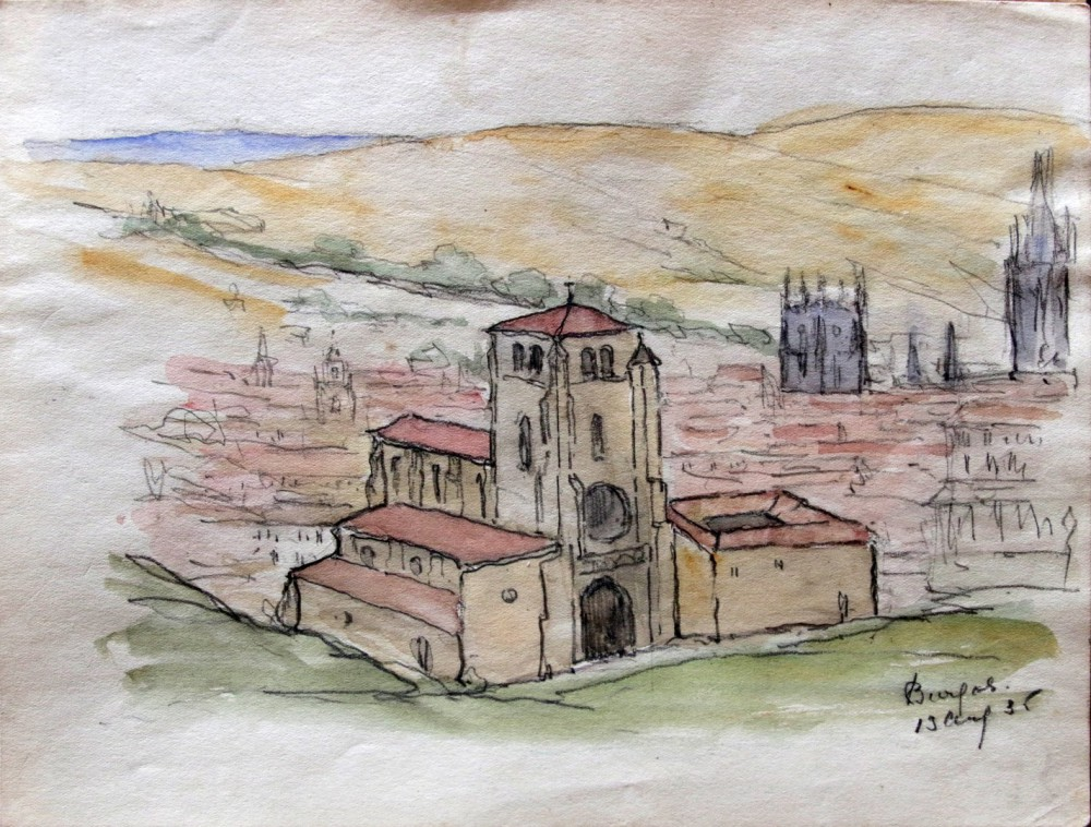 Gezicht op Burgos (1935) door Lucie van Dam van Isselt