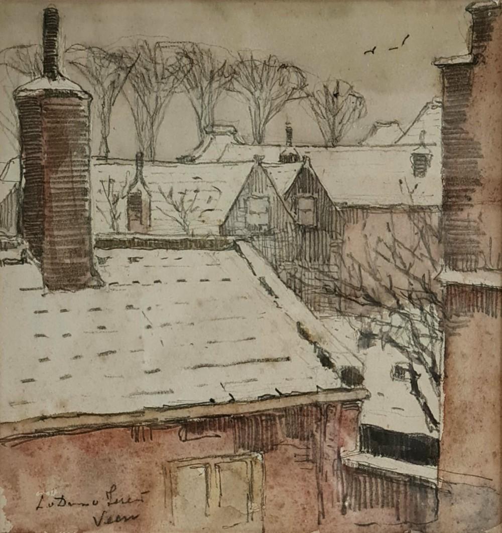 Veere in de sneeuw II (ca. 1925) door Lucie van Dam van Isselt