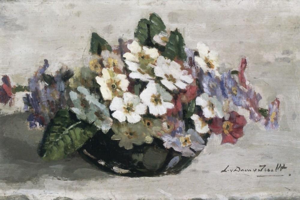 Bakje met primula's (ca. 1930) door Lucie van Dam van Isselt