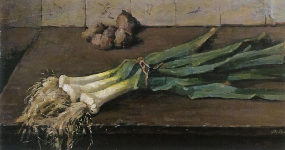 Stilleven met prei (1935) door Lucie van Dam van Isselt