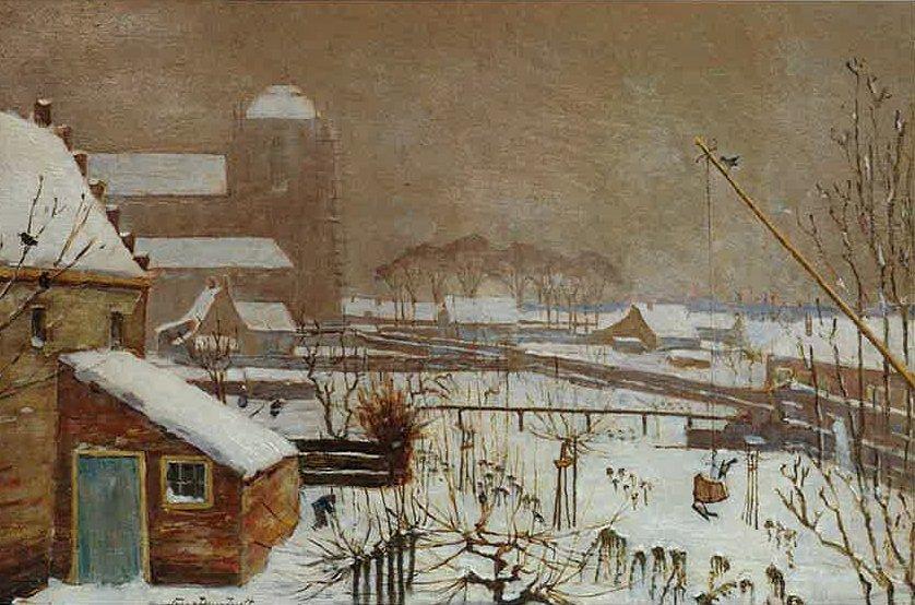 Wintergezicht op Veere (ca. 1920-1925) door Lucie van Dam van Isselt