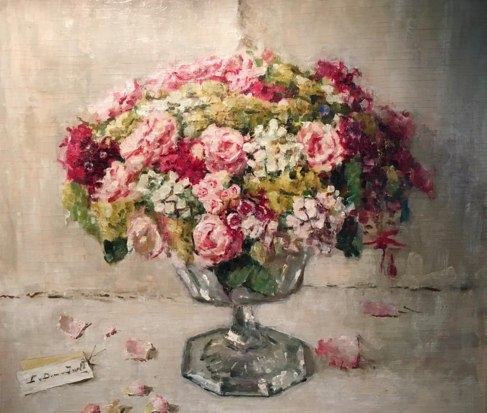 Bont bouquet in kristallen bokaal (ca. 1945-1948) door Lucie van Dam van Isselt