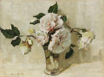 Witte rozen (1920-1925) door Lucie van Dam van Isselt