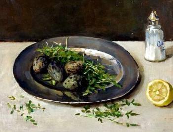 Kievitseieren en sterkers op tinnen bord door Lucie van Dam van Isselt