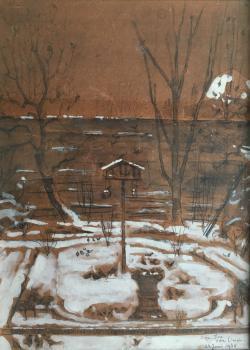 Tuin Cornelis Houtmanstraat in de sneeuw (1934) door Lucie van Dam van Isselt