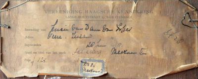 Achterzijde Meizoentjes in een zilveren vaasje (1918) door Lucie van Dam van Isselt