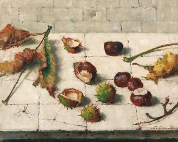 Stilleven met kastanjes (ca. 1945) door Lucie van Dam van Isselt