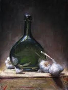 Stilleven met groene fles en knoflook door Lucie van Dam van Isselt