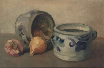 Stilleven met 2 Keulse potten door Lucie van Dam van Isselt