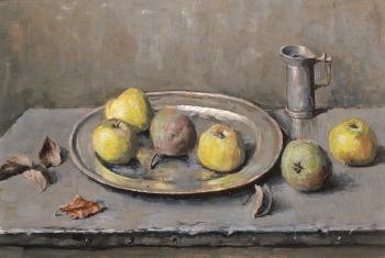 Appels op een tinnen schaal (1940-1941) door  Lucie van Dam van Isselt