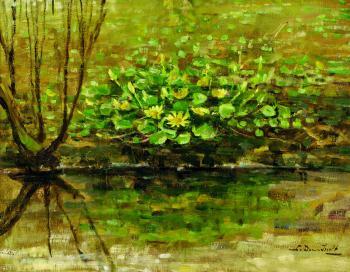 Gele bloemen aan de waterkant door Lucie van Dam van Isselt