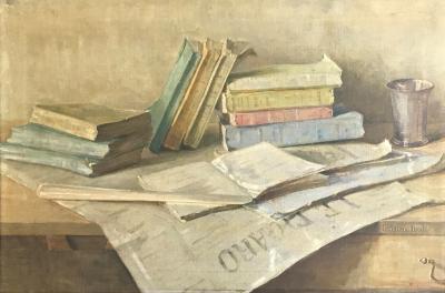 Stilleven met boeken (1915) door Lucie van Dam van Isselt