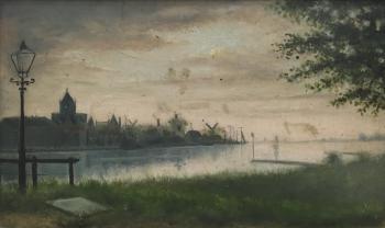 Gezicht op Kampen (1889) door Lucie van Dam van Isselt
