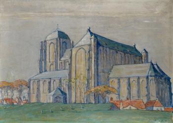 Avond Grote kerk Veere (ca. 1912-1913) door Lucie van Dam van Isselt