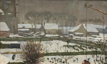 Studie wintergezicht op Veere (ca. 1920-1925) door Lucie van Dam van Isselt
