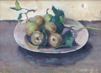 Tinnen bord met peren (1937) door Lucie van Dam van Isselt
