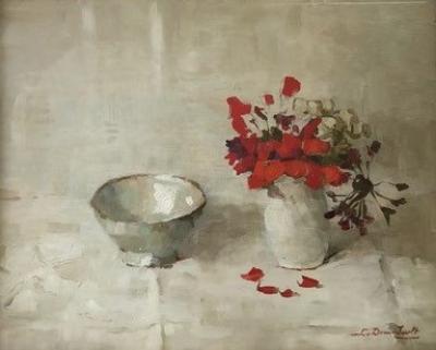 Wit kommetje met geranium (1937) door Lucie van Dam van Isselt