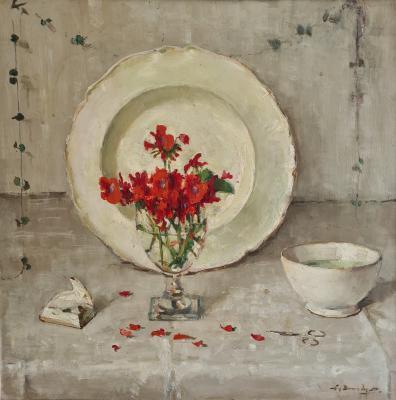 Geraniums voor wit bord (ca. 1945) door Lucie van Dam van Isselt