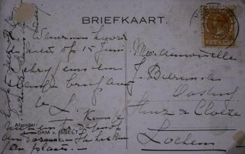 Kaart achterzijde Haring op de bon (1946) door Lucie van Dam van Isselt