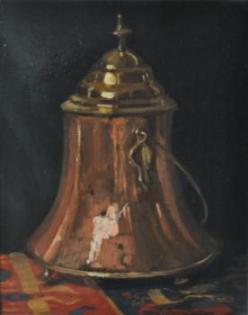 Biedermeier doofpot op Perzisch kleed door Lucie van Dam van Isselt