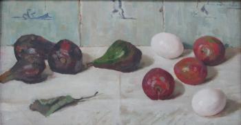 Stilleven met vijgen, pruimen en eieren door Lucie van Dam van Isselt