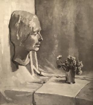 Stilleven met dodenmasker en vaasje bloemen door Lucie van Dam van Isselt