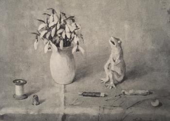 Sneeuwklokjes met naaigerei (1940) door Lucie van Dam van Isselt