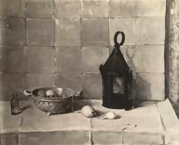 Stilleven met lantaarn door Lucie van Dam van Isselt
