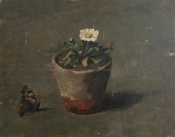 Meizoentje met vlinder door Lucie van Dam van Isselt