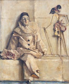 Pierrot met wajangpop door Lucie van Dam van Isselt