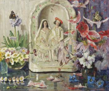 Stilleven met porseleinen huwelijksbeeldje door Lucie van Dam van Isselt