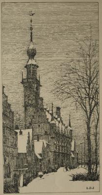 Het stadhuis van Veere in de sneeuw (ca. 1925) door Lucie van Dam van Isselt