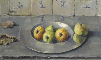 Tinnen schaal met appels (ca. 1940-1941) door Lucie van Dam van Isselt