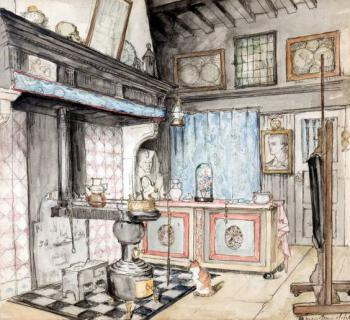 Interieur atelier (ca. 1910) door Lucie van Dam van Isselt