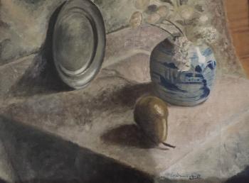 Stilleven met peer en tinnen bord door Lucie van Dam van Isselt
