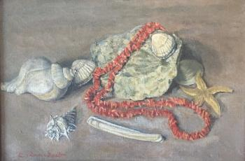 Stilleven met bloedkoraal en schelpen door Lucie van Dam van Isselt