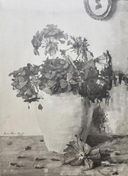 Verwelkte geraniums door Lucie van Dam van Isselt