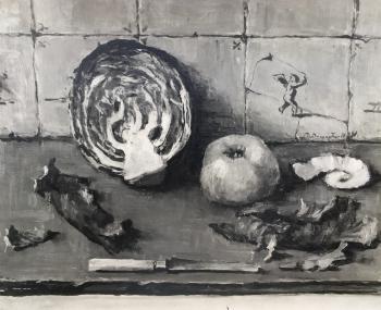 Stilleven met rode kool door Lucie van Dam van Isselt