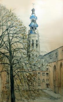 Abdijtoren van Middelburg door Lucie van Dam van Isselt