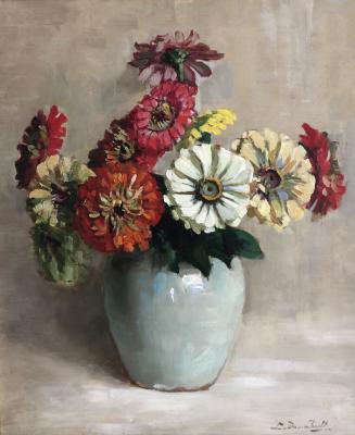 Zinnia's in lichtblauwe vaas (ca. 1934-1935) door Lucie van Dam van Isselt