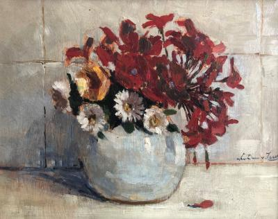 Rode geranium en zinnia's (ca. 1928-1930) door Lucie van Dam van Isselt