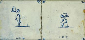 Plassende en kakkende amor door Lucie van Dam van Isselt