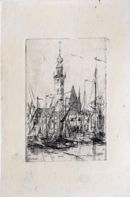 De haven van Veere (ca. 1908-1910) door Lucie van Dam van Isselt